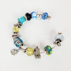 Glass Bead and Charm Bracelet